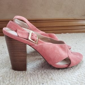 Chinese Laundry Ballad pink suede heel sandal 8.5